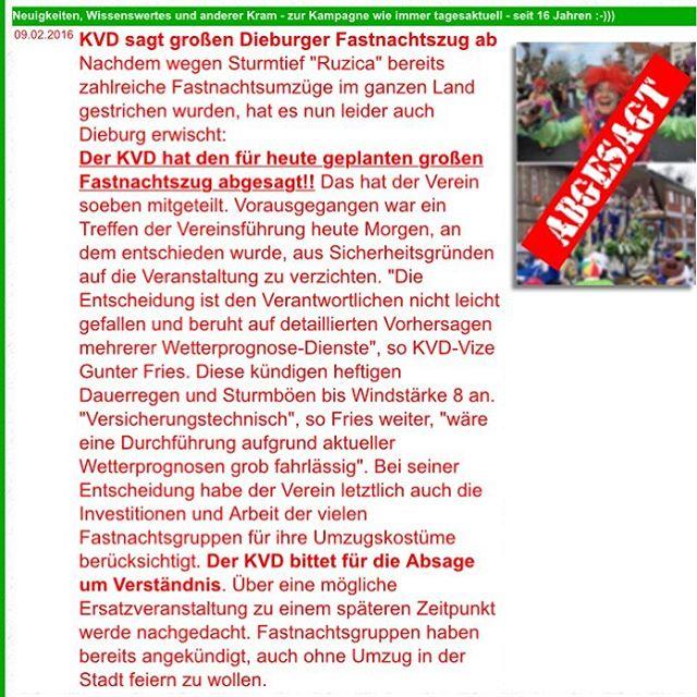 Fastnachtsumzug 2016 abgesagt :( #dibborschde #dauerregen #dieburg #fastnacht #äla #aufgehts #strassenfastnacht
