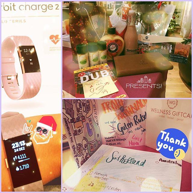 Beschenkt  #Weihnachtsgeschenke #fitbitchargehr2 #wellnessgutschein #südholland2017 #dublin2017 #vielvorfreude #gustileder